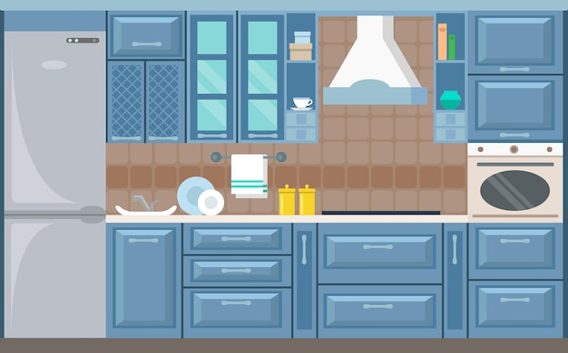 Wektorowa kuchenna wnętrze karty mieszkania ilustracja