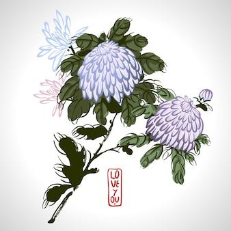 Wektorowa kwitnąca chryzantema w chińskim stylu