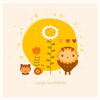 Wektorowa lato karta z sową, gopher, ślimaczkiem i kwiatami