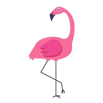 Wektorowa letnia karta z różowym flamingiem na białym tle