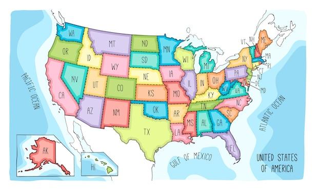 Wektorowa mapa stanów zjednoczonych ameryki.