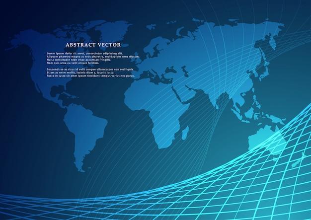 Wektorowa mapa świata z kontynentem