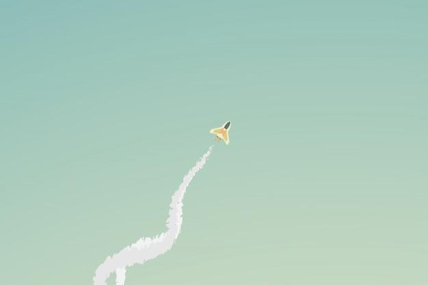 Wektorowa minimalistyczna styl rakieta lata nad chmurą
