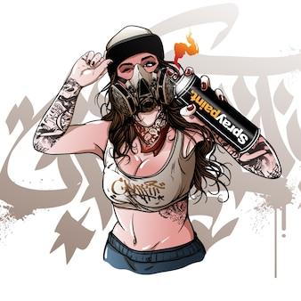 Wektorowa młoda dziewczyna maluje graffiti