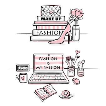 Wektorowa mody ilustracja. koncepcja pulpitu dla dziewcząt. stylowe miejsce pracy.