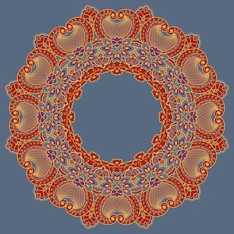 Wektorowa ozdobna koronka okrągła z elementami adamaszku i arabesku. styl mehndi. orient tradycyjny ornament. zentangle-jak okrągły kolorowy ornament kwiatowy.
