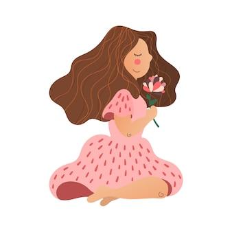 Wektorowa płaska ręka rysująca dziewczyna z kwiatem w jej ręce.