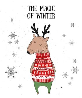 Wektorowa pocztówka z uroczym zwierzęciem zimowym w przytulnym swetrze
