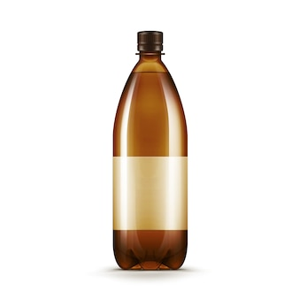 Wektorowa pusta brown plastikowa wodna piwna kwas piwo butelka odizolowywająca na biel