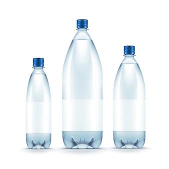 Wektorowa pusta plastikowa błękitne wody butelka odizolowywająca