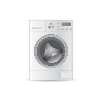 Wektorowa realistyczna automatyczna pusta pralka z ładowanymi od przodu ubraniami