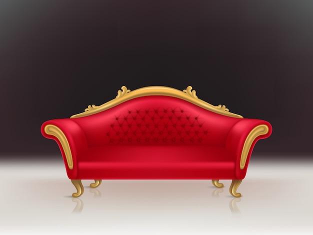 Wektorowa realistyczna luksusowa czerwona aksamitna kanapa z złotymi rzeźbionymi nogami na czarnym tle, biała podłoga.