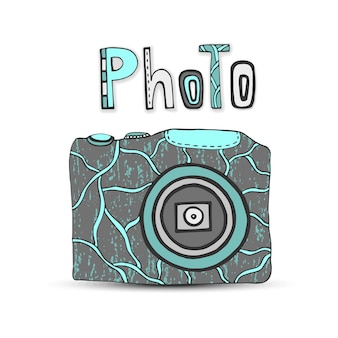 Wektorowa ręka rysująca ilustracja z odosobnionymi ikonami fotografii kamera w retro stylu. logo studia fotograficznego