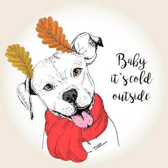 Wektorowa ręka rysujący portret pies w szalika i liścia ucho.