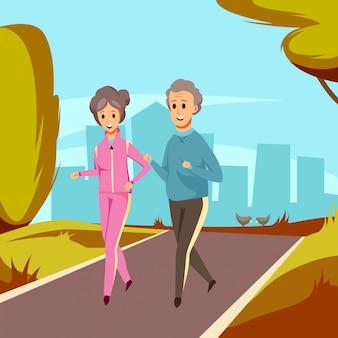 Wektorowa starsza stara para na jogging sporcie
