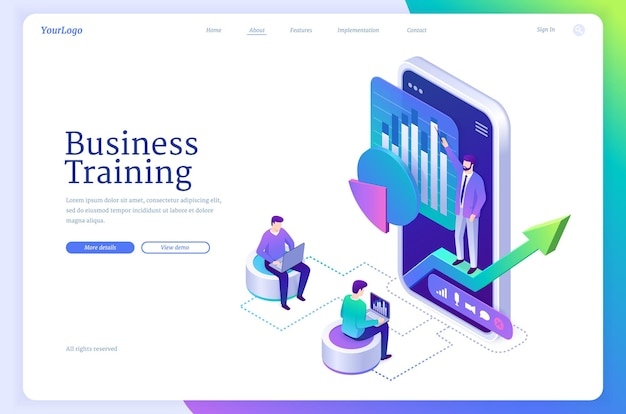 Wektorowa strona docelowa edukacji biznesowej
