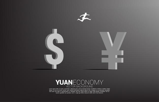 Wektorowa sylwetka biznesmen skacze od dolarowego pieniądze porcelanowa juan waluty ikona. koncepcja chińskiej gospodarki i ery chińskiej.