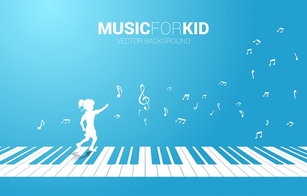 Wektorowa sylwetka dziewczyna bieg z pianino kluczem z latającą muzyki notatką. muzyka w tle koncepcja dla dzieci i dzieci.