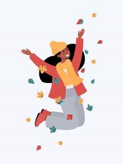Wektorowa szczęśliwa afrykańska kobieta skacze i ono uśmiecha się z liśćmi