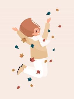 Wektorowa szczęśliwa blondynki kobieta skacze i ono uśmiecha się z liśćmi