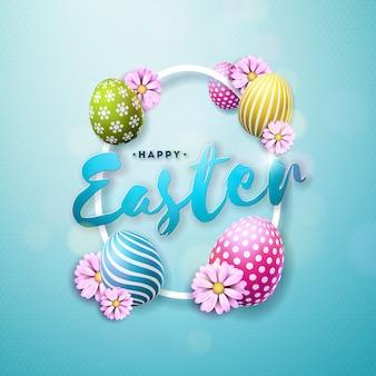 Wektorowa szczęśliwa wielkanocna ilustracja z jajkiem i kwiatem