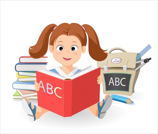 Wektorowa uśmiechnięta mała dziewczynka z książką uczy się abecadło. stos książek. tornister szkolny
