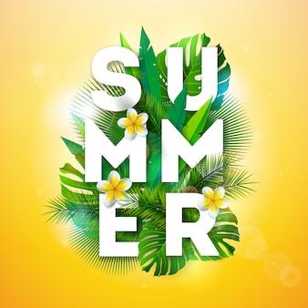 Wektorowa wakacje letni ilustracja z tropikalnymi palmowymi liśćmi