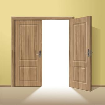 Wektorowe drewniane otwarte drzwi z ramą odizolowywającą