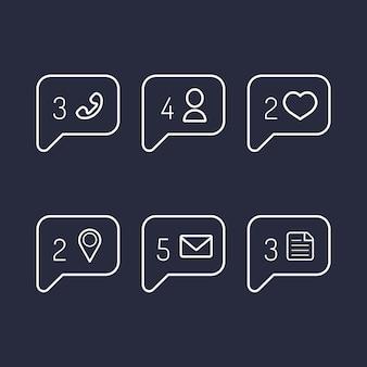 Wektorowe ikony informacji i powiadomień w stylu płaski.