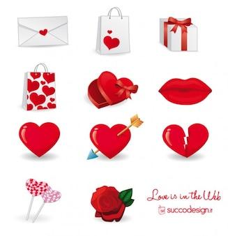 Wektorowe ikony serca opakowań
