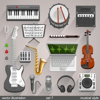 Wektorowe ikony stylu muzycznego. zestaw 7 ilustracji sztuki