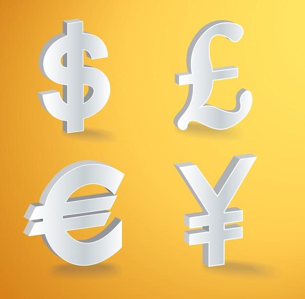 Wektorowe ikony walut