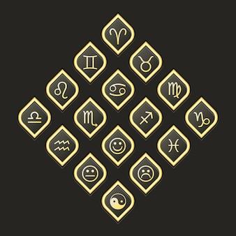 Wektorowe ikony www zestaw do ezoterycznego horoskop astrologii
