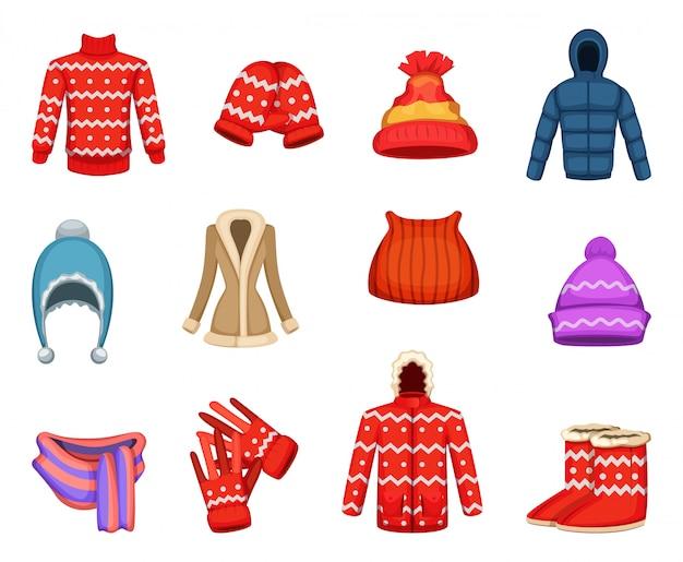 Wektorowe ilustracje kolekcji ubrań zimowych