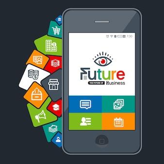 Wektorowe kolorowe aplikacje na smartfony