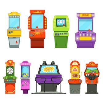 Wektorowe kolorowe ilustracje maszyn do gier. symulator jazdy i różne gry zręcznościowe w parku rozrywki