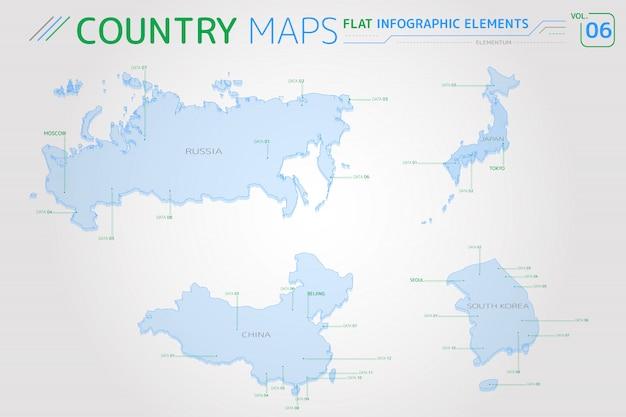 Wektorowe mapy rosji, chin, japonii i korei południowej