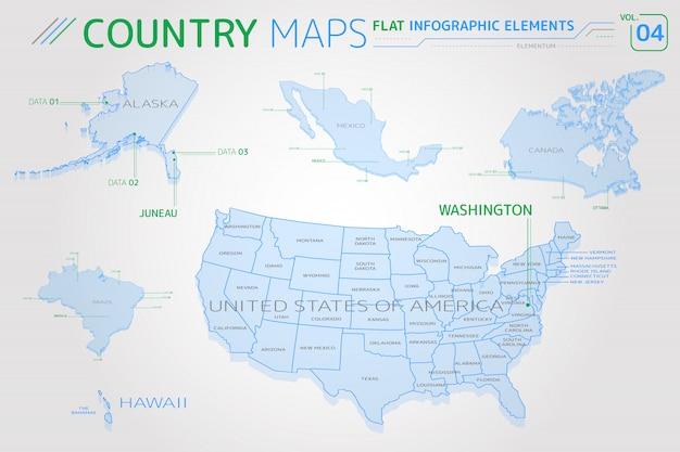 Wektorowe mapy stanów zjednoczonych, alaski, hawajów, meksyku, kanady i brazylii