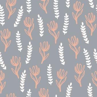 Wektorowe minimalistyczne naiwne rośliny i krople. bezszwowy wzór.