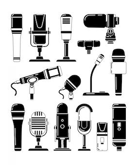 Wektorowe monochromatyczne ilustracje mikrofonów i innych profesjonalnych narzędzi dla reporterów