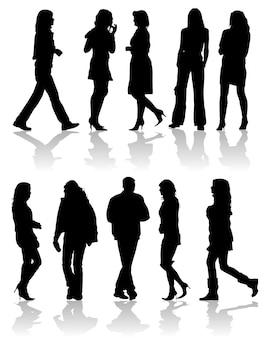 Wektorowe sylwetki mężczyzna i kobiety