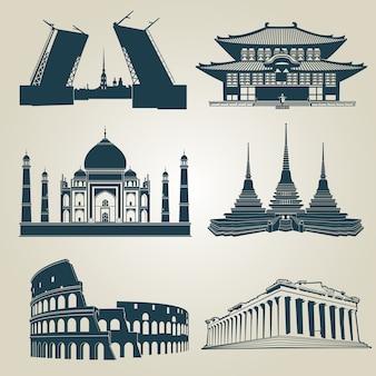 Wektorowe sylwetki światowe atrakcje turystyczne. znane zabytki i symbole miejsc docelowych