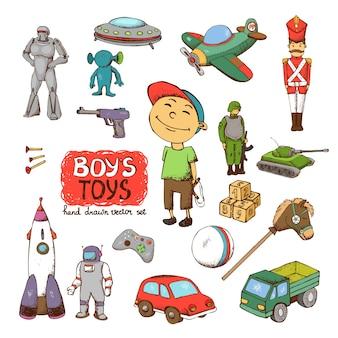 Wektorowe zabawki dla chłopca: bęben pistoletu rakietowego ufo żołnierz robot czołg