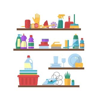 Wektorowego cleaning płascy elementy na półkach ilustracyjnych