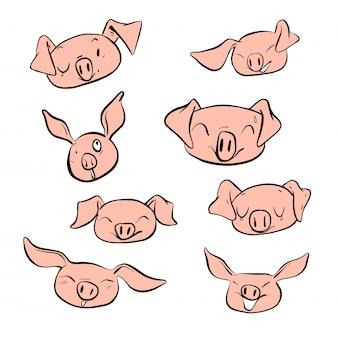 Wektorowego ilustracyjnego ustalonego projekta twarzy różna emocja świnia.