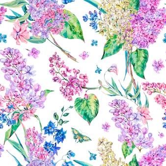 Wektorowego rocznika kwiecisty bezszwowy wzór z różowym bzem