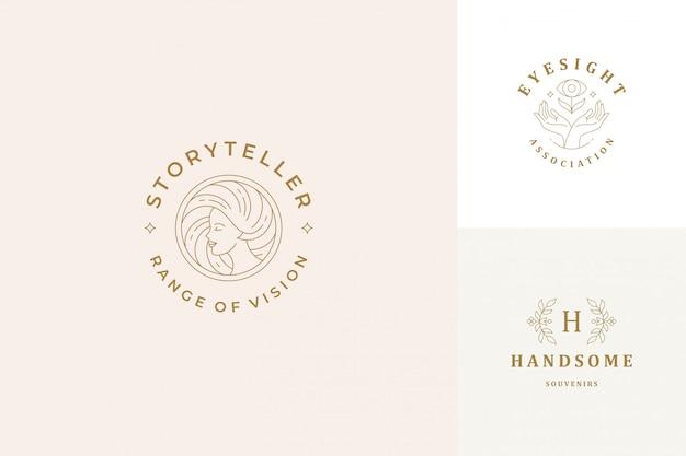 Wektorowi loga kreskowi emblematy projektują szablony ustawiających - żeńska twarz i gest ręk ilustracj prosty minimalny liniowy styl