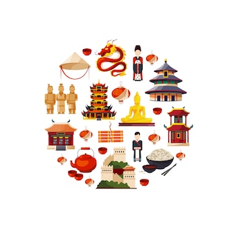 Wektorowi płascy stylowi porcelanowi elementy i widoki zbierający w okrąg ilustraci. chińska kultura i kolekcja zabytków