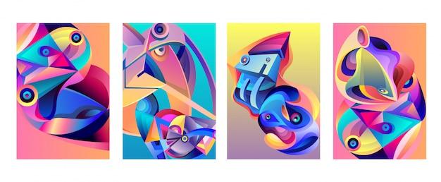 Wektorowy abstrakcjonistyczny kolorowy geometryczny curvy wzoru tła set