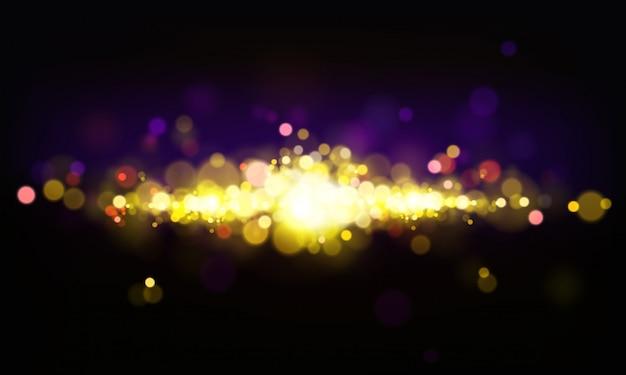 Wektorowy abstrakcjonistyczny tło z błyszczącymi elementami, jaskrawi światła, bokeh skutek.